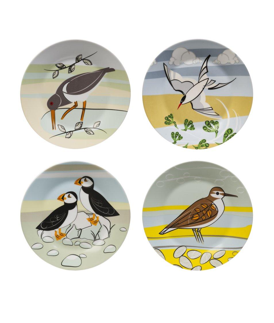 Porcelánový set čtyř barevných talířů Magpie Coast SideMagpie