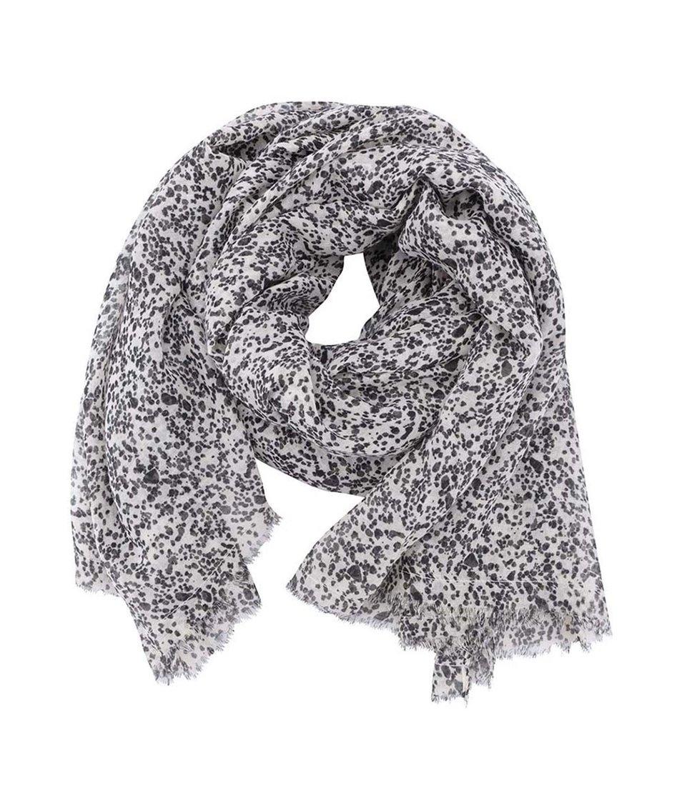 Černo-béžový puntíkovaný šátek Pieces