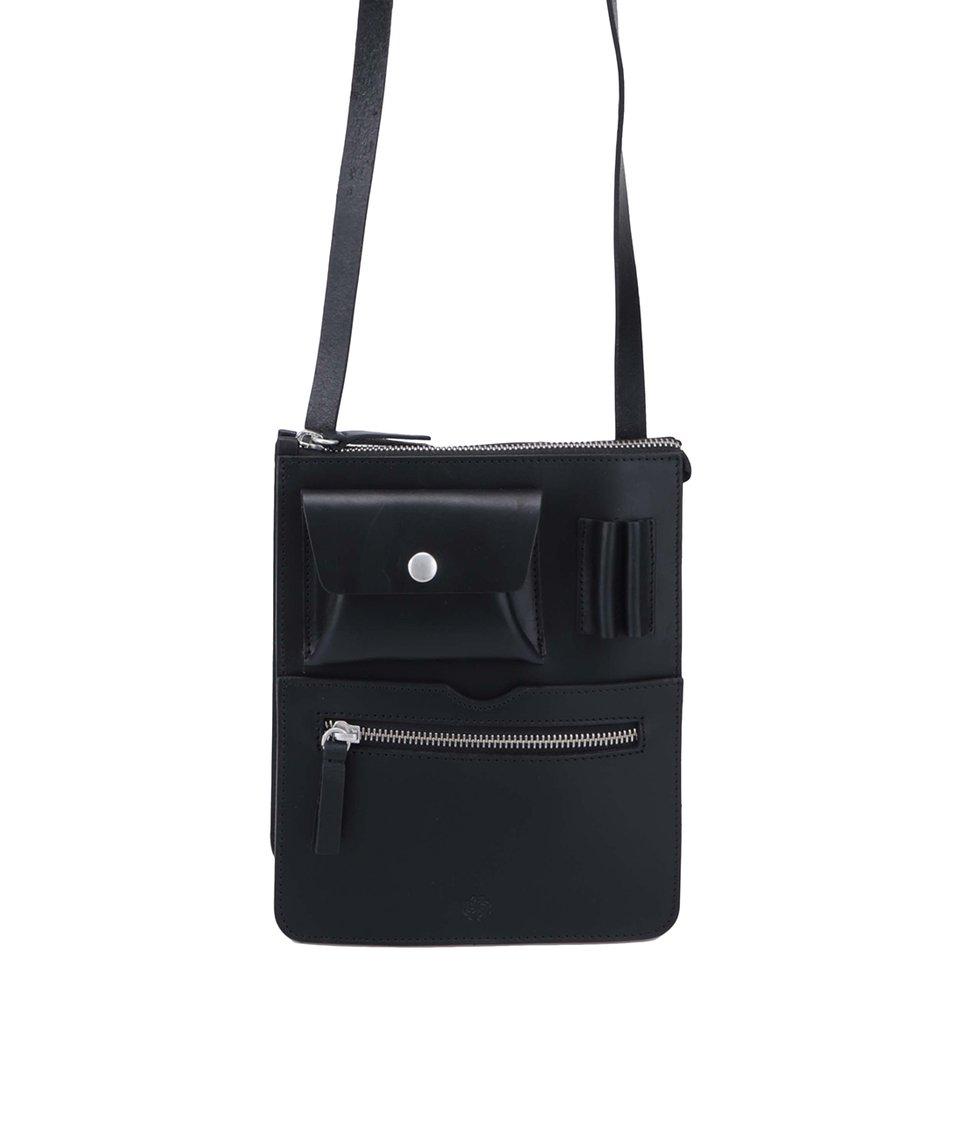 Černá kožená kabelka Pieces Edna