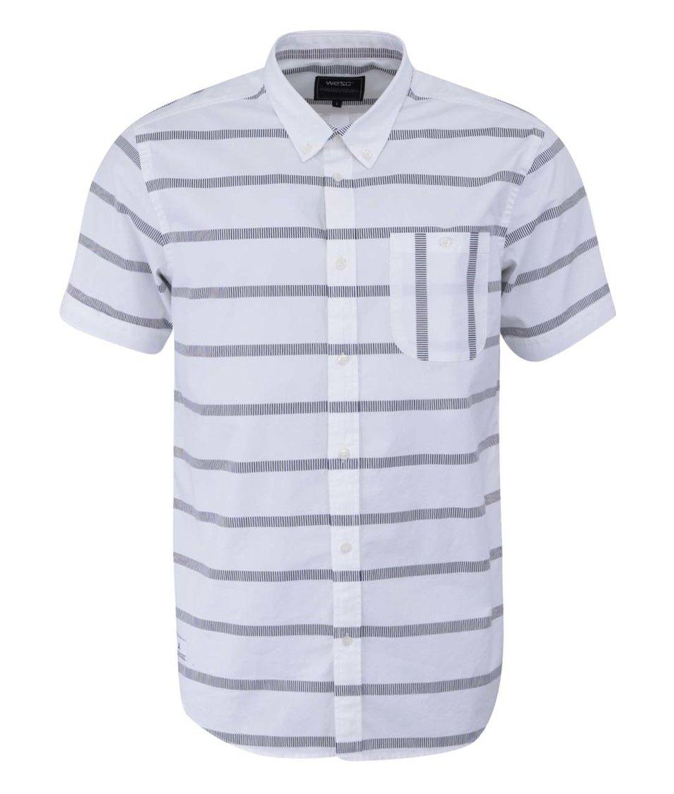Bílá vzorovaná košile s krátkým rukávem WeSC Avon Slim Fit