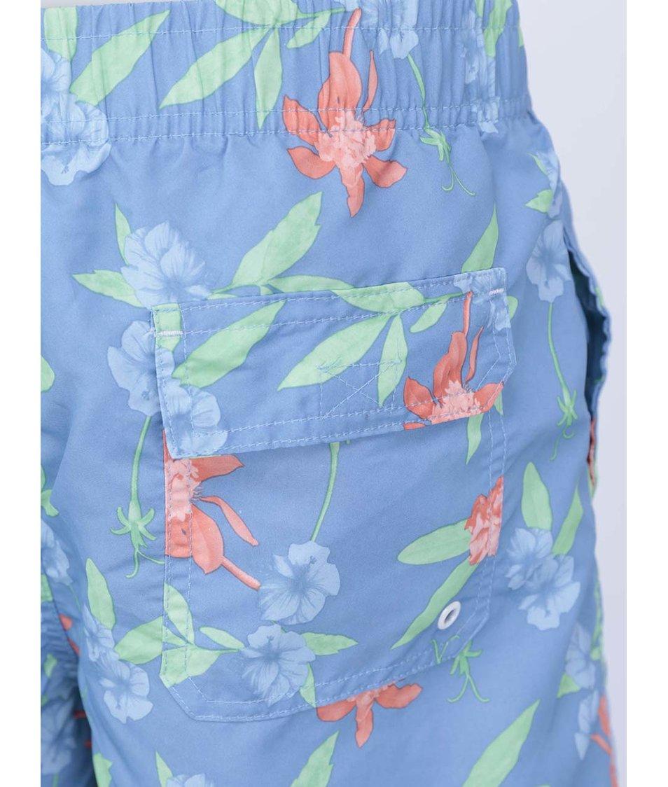 Světle modré pánské plavky s květinovým vzorem Bellfield Sumba