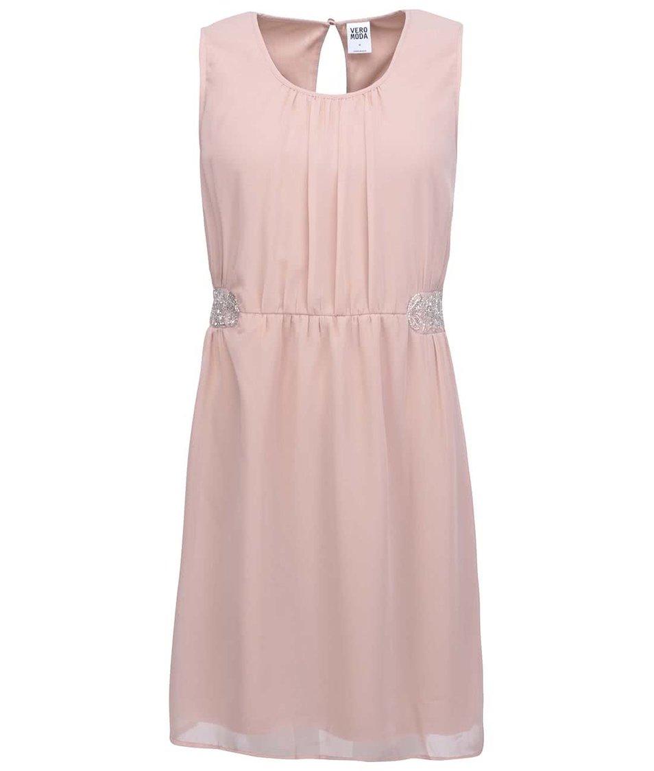 Pudrově růžové šaty Vero Moda Beads