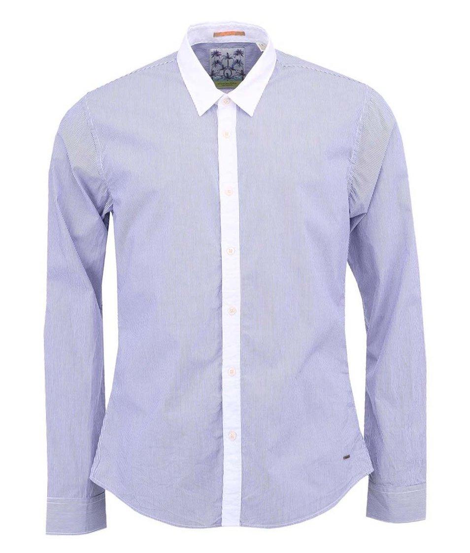 Bílá košile s modrými pruhy a dlouhým rukávem Scotch & Soda