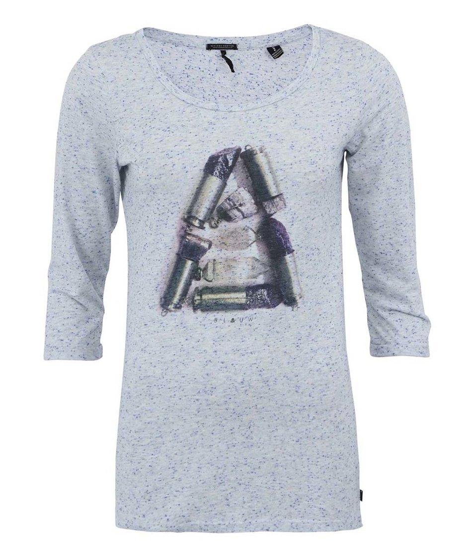 Šedé dámské triko s tříčtvrtečními rukávy Maison Scotch