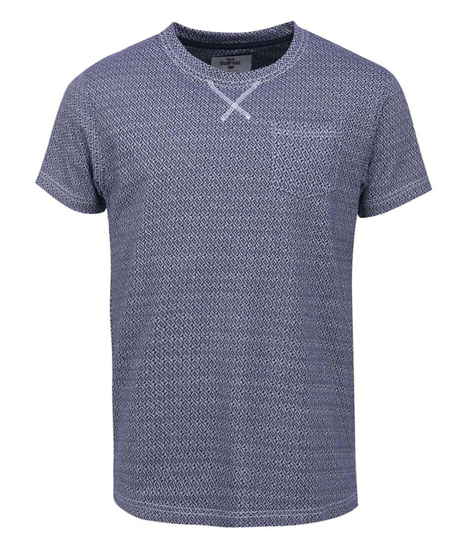 Tmavě modré pánské triko se vzorem Bellfield Harvery