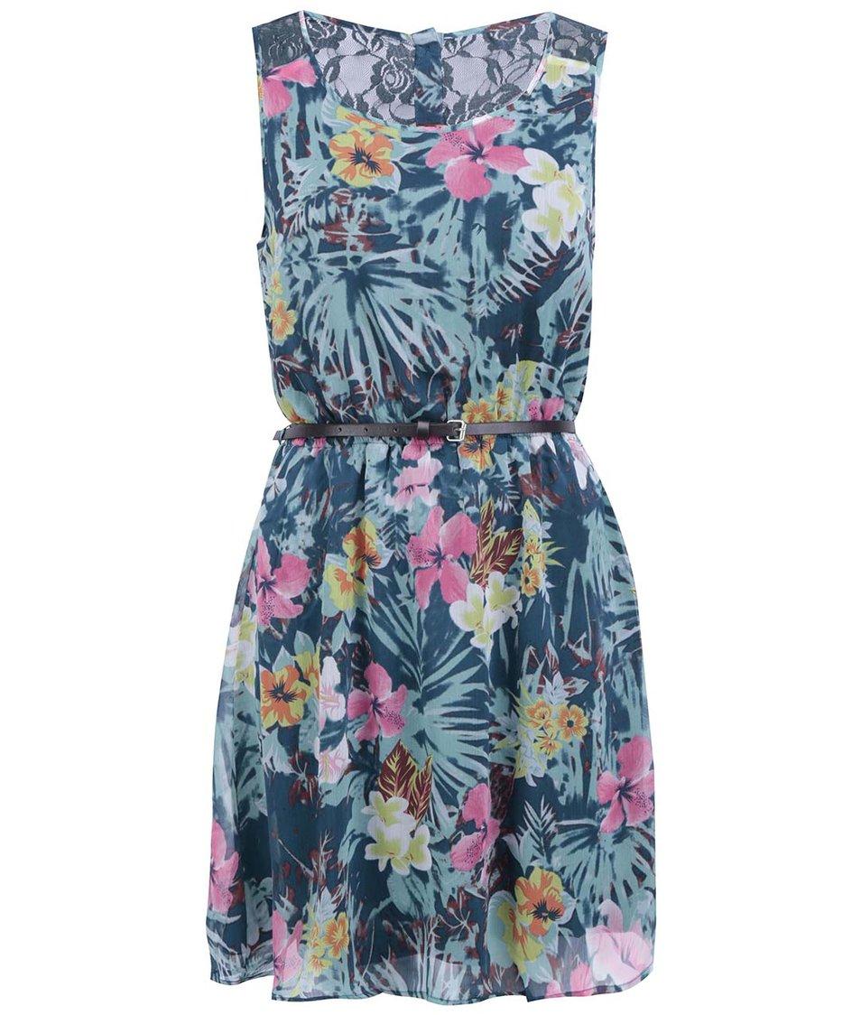 Tyrkysové šaty s havajskými květy ONLY Lia Lace