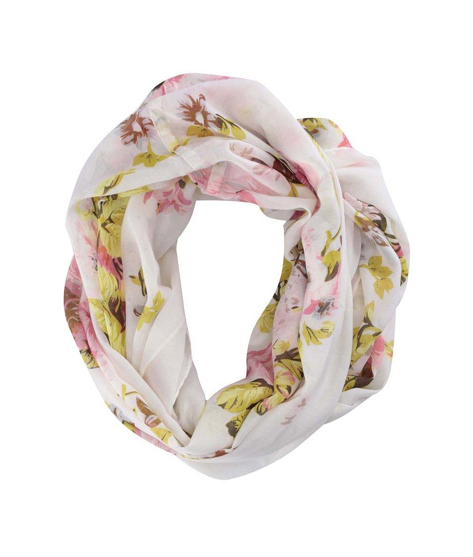 Bílý  šátek s květovaným potiskem Pieces Lix