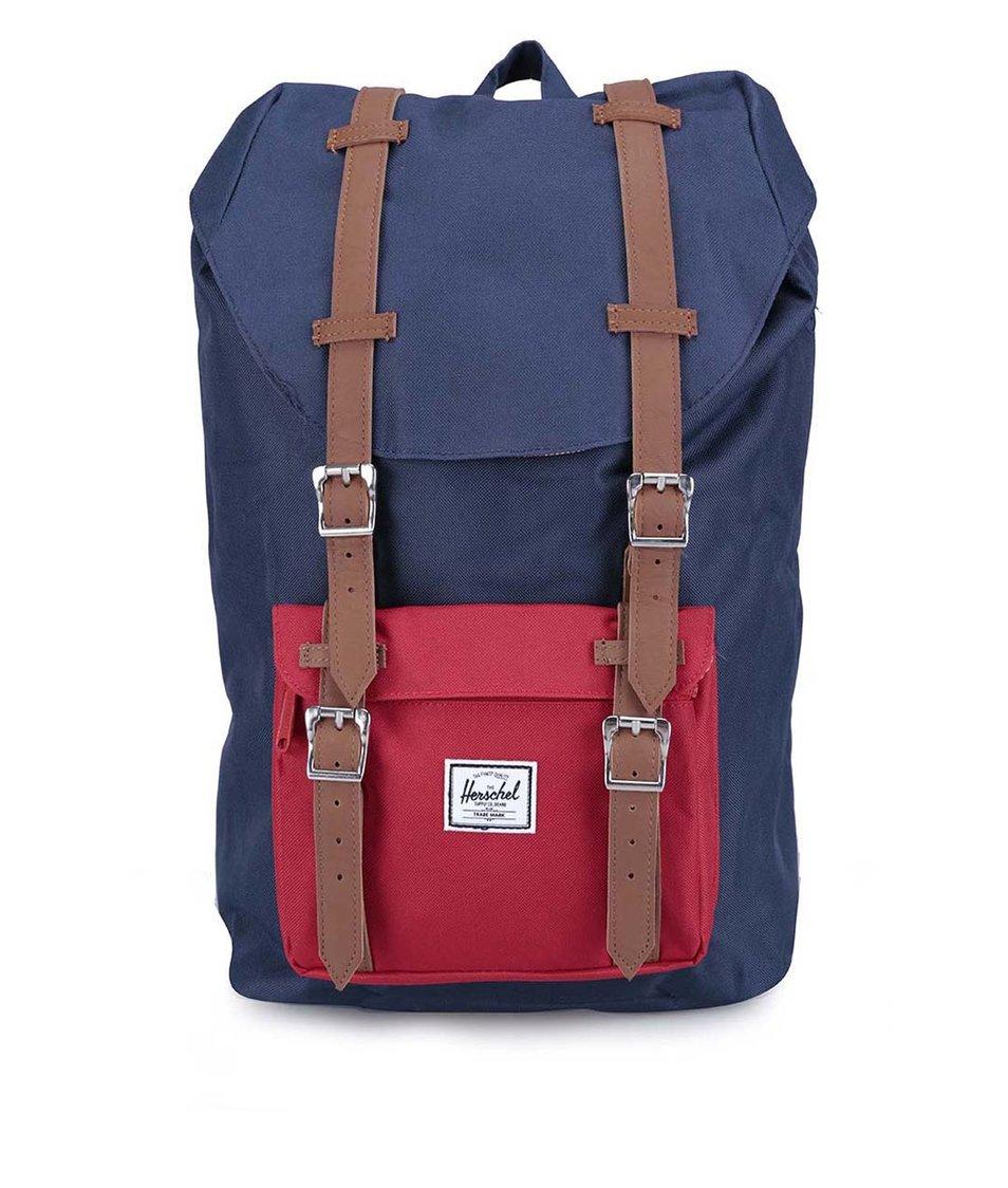 Menší červeno-modrý batoh s přední kapsou Herschel Little America Mid-Volume