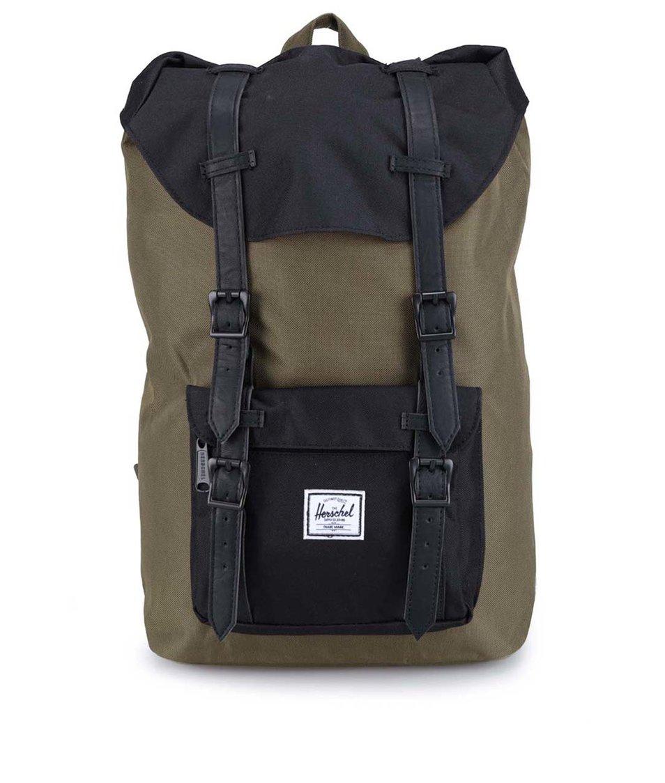 Menší černo-zelený batoh s přední kapsou Herschel Little America