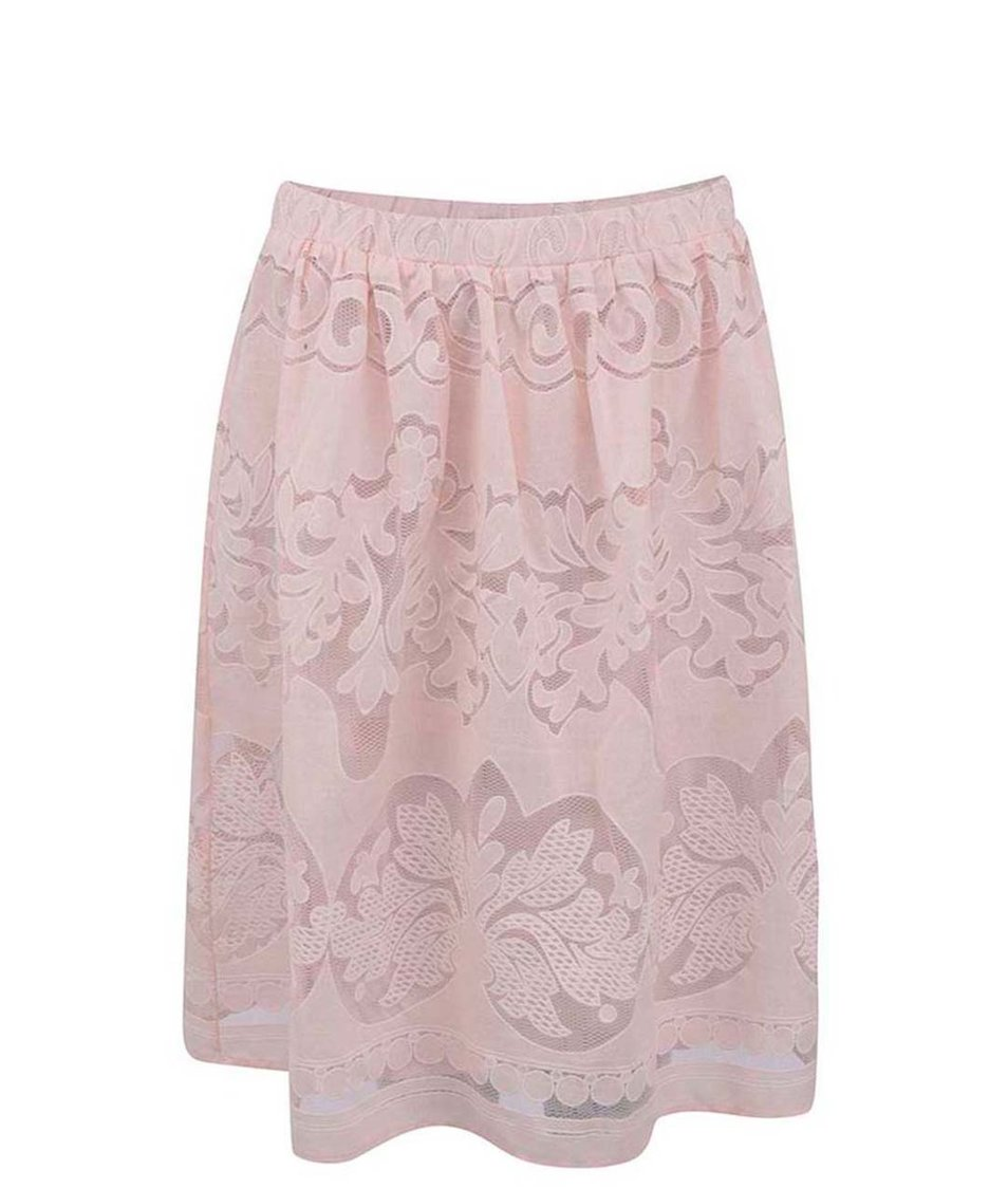 Růžová krajkovaná sukně VILA Classico