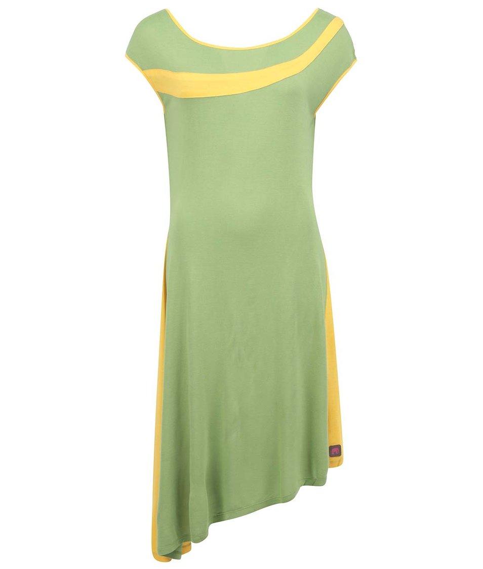 Zelené šaty se žlutým pruhem Tranquillo Laos