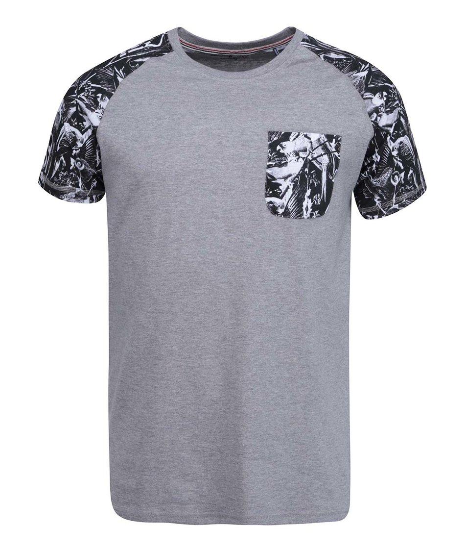 Šedé triko se vzorovanými detaily Shine Original Raglan