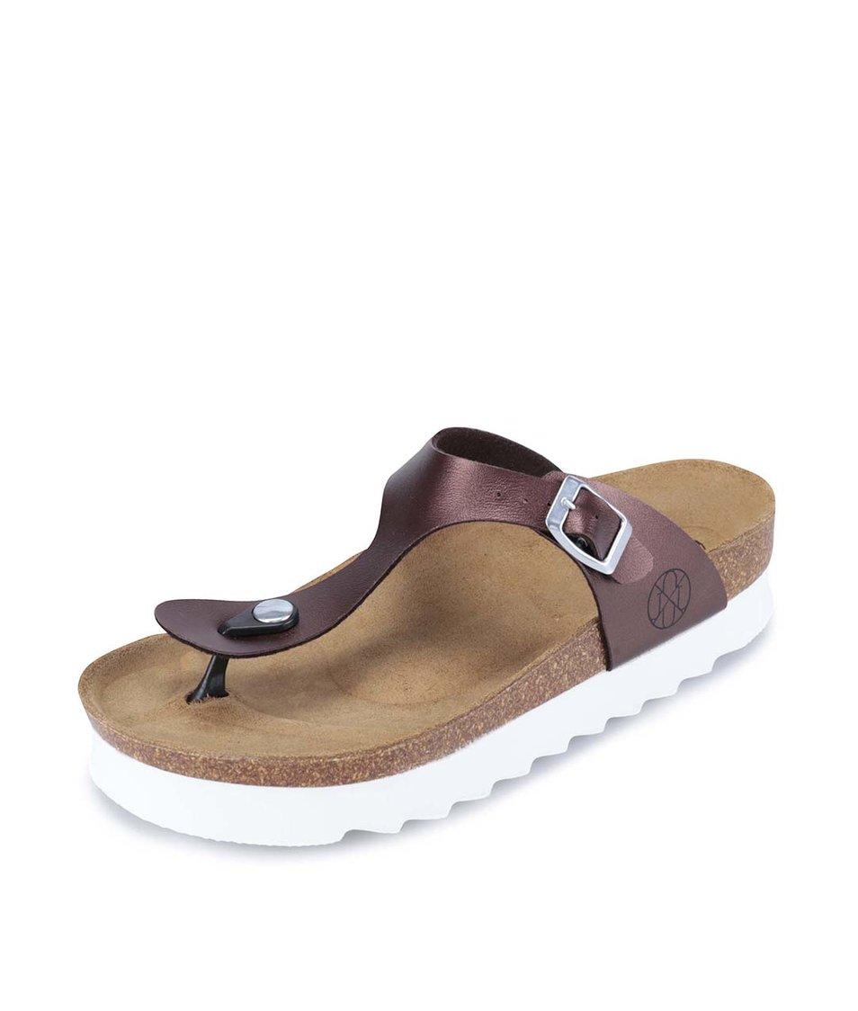 Hnědé metalické pantofle s bílou podrážkou OJJU