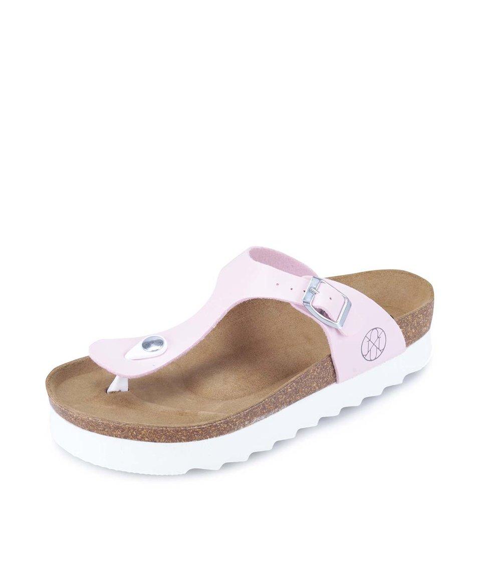 Světle růžové pantofle s bílou podrážkou OJJU