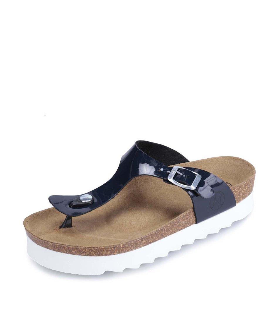 Tmavě modré lakované pantofle s bílou podrážkou OJJU