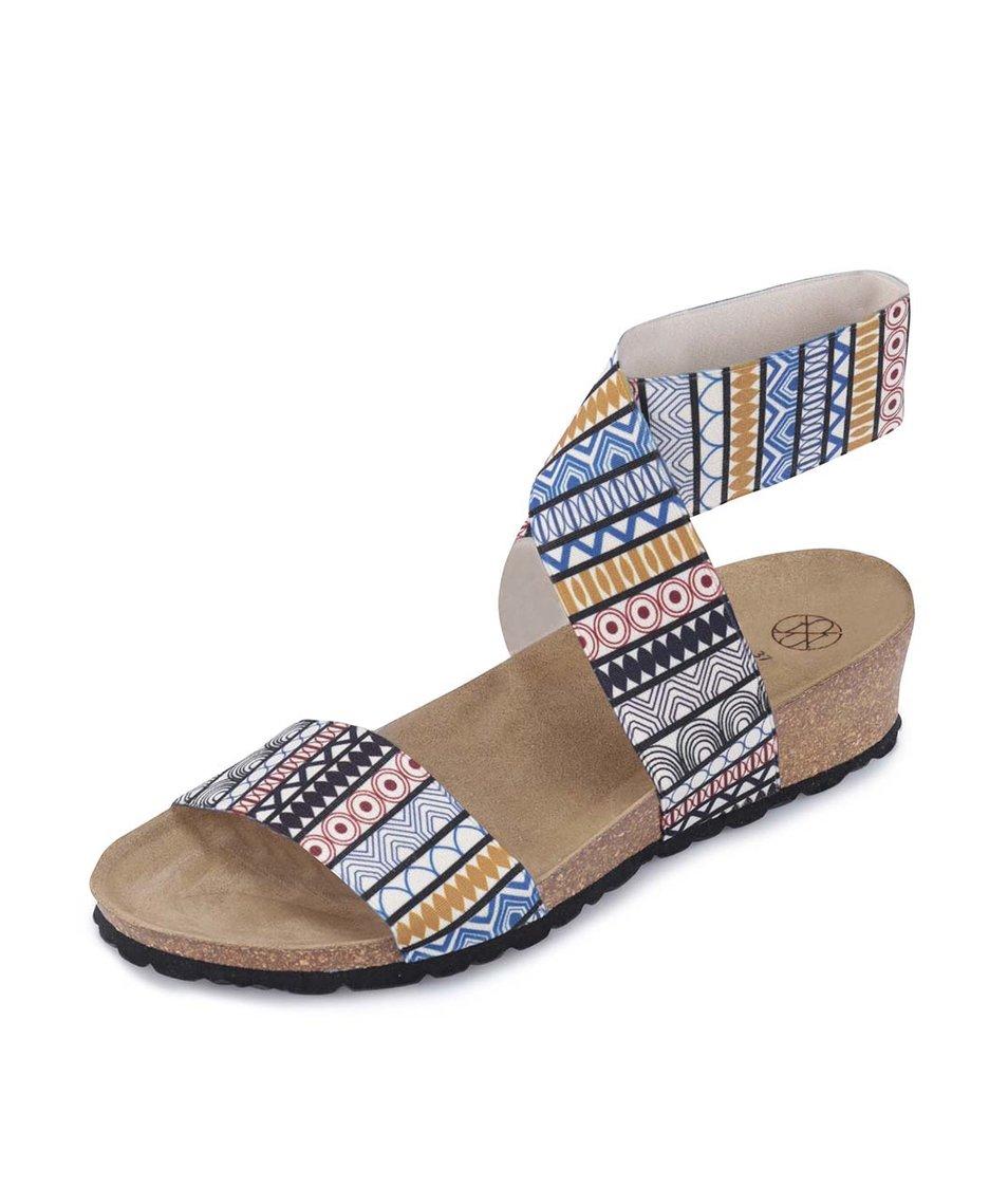 Barevné vzorované sandálky s překříženým páskem OJJU