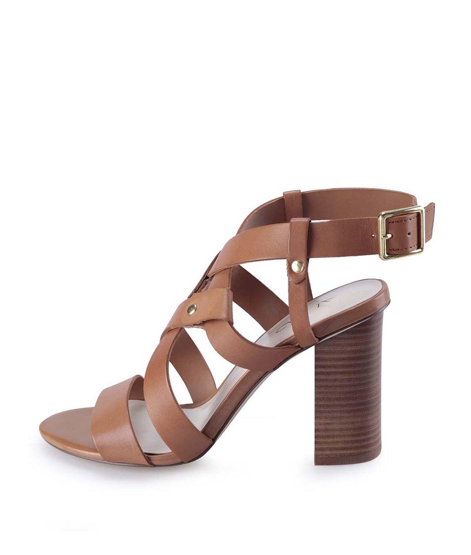 Hnědé kožené sandály na podpatku ALDO Okelani