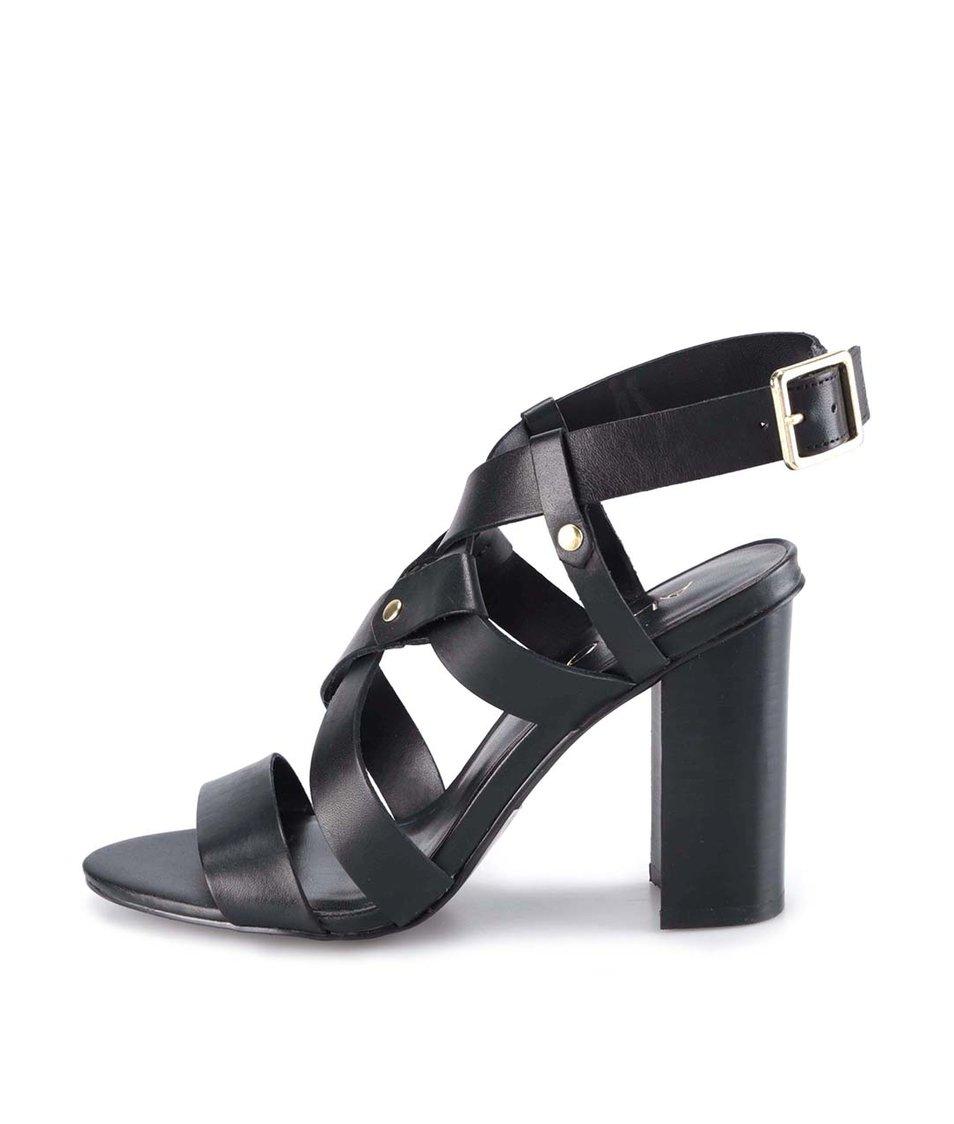 Černé kožené sandály na podpatku ALDO Okelani