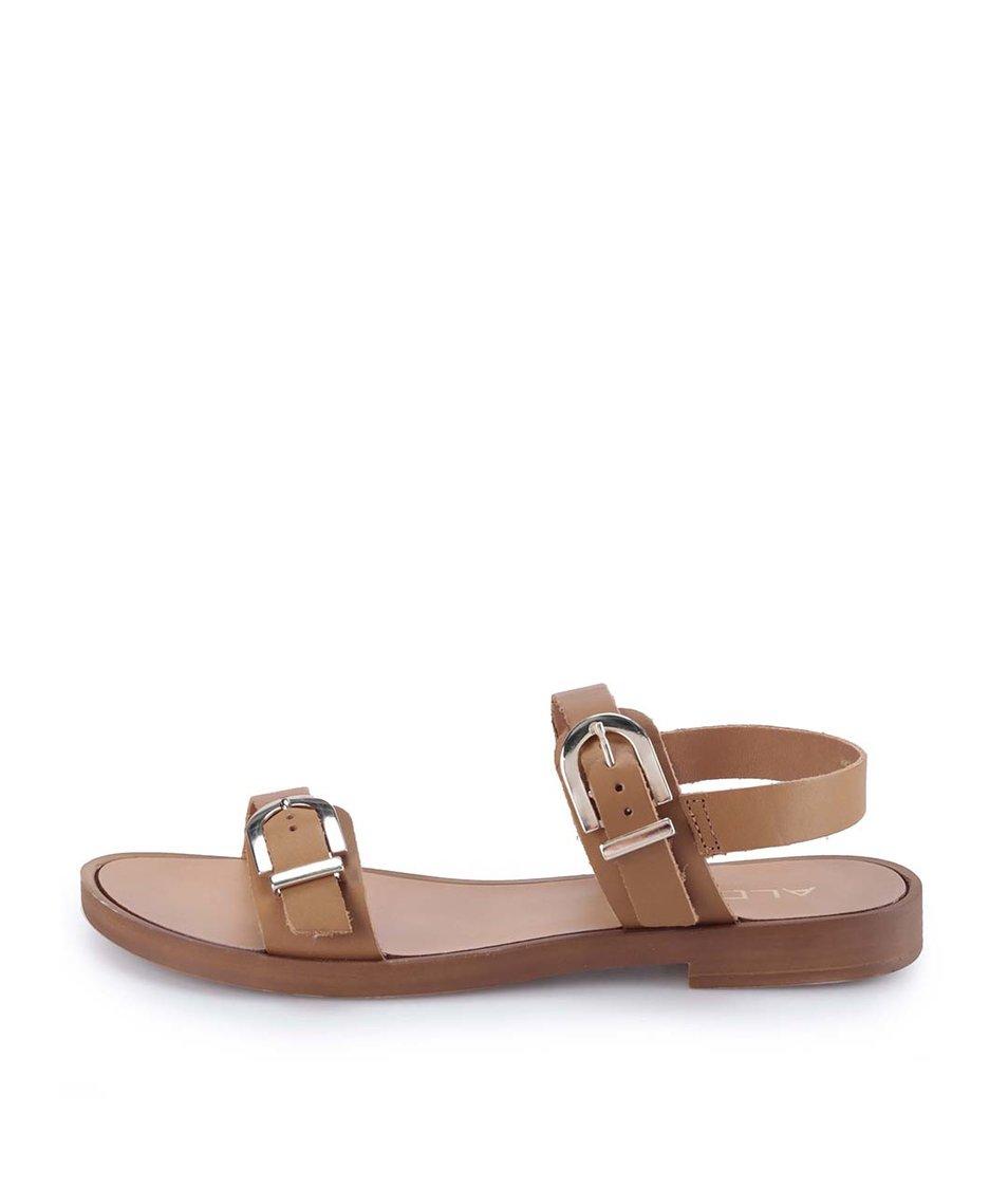 Hnědé kožené sandály ALDO Lareani