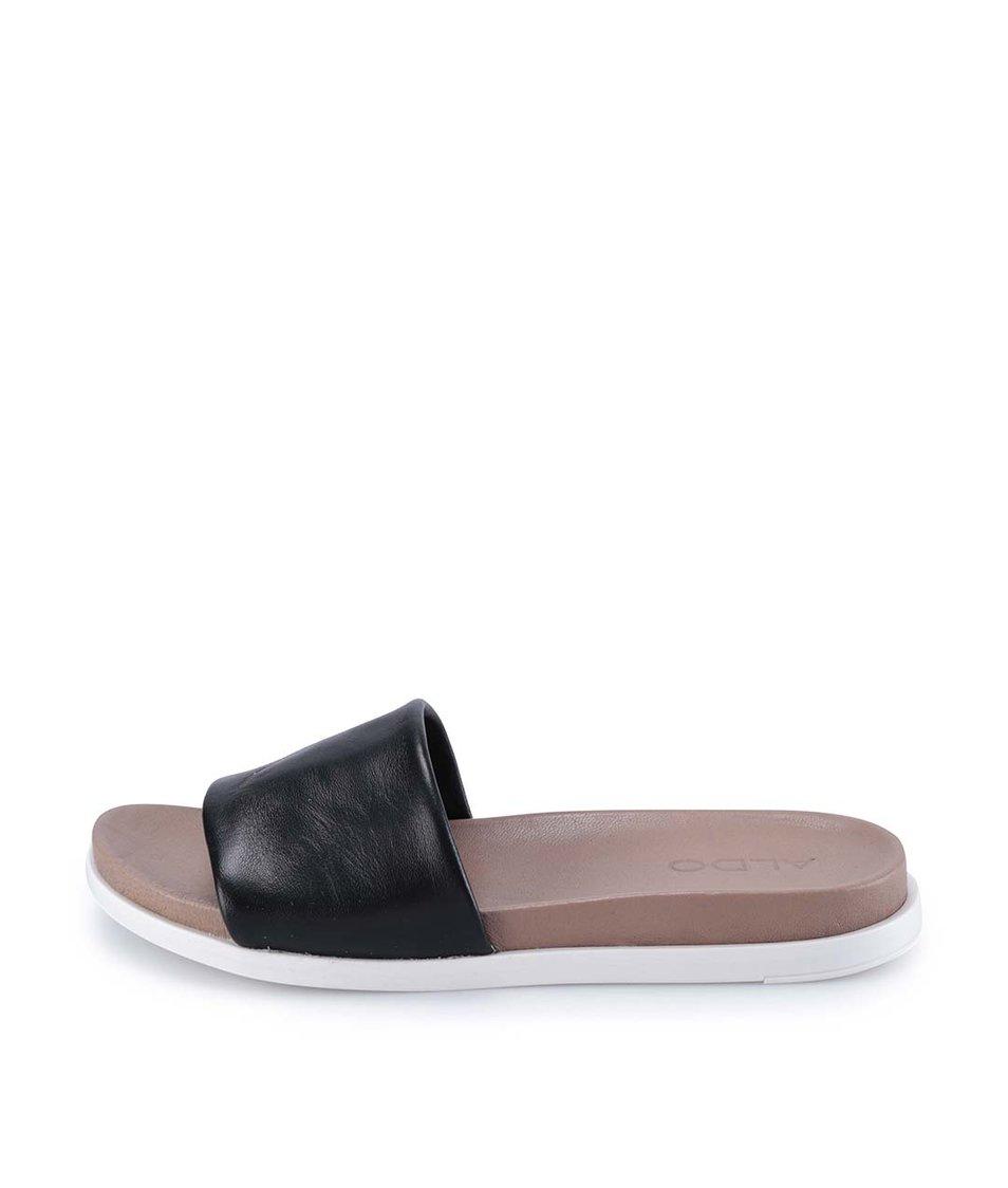 Černé kožené pantofle ALDO Bralla