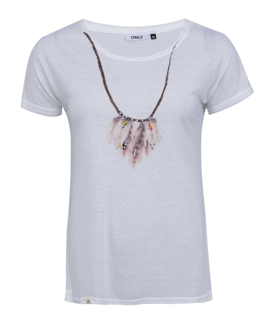 Bílé triko s potiskem a korálky ONLY Necklace