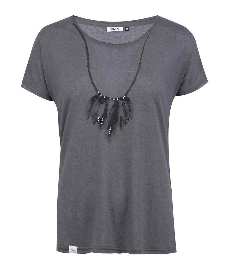 Šedé triko s potiskem a korálky ONLY Necklace