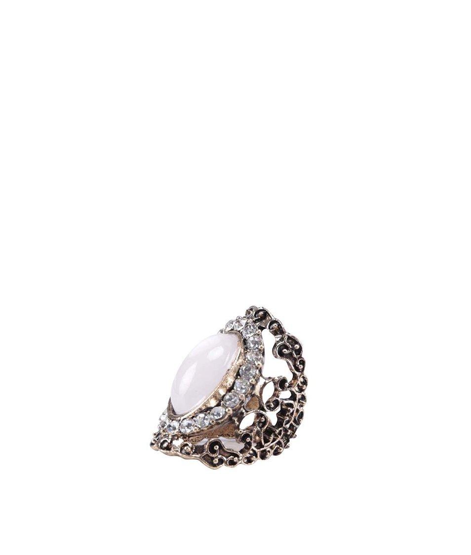 Ozdobný prstýnek ve zlaté barvě s perleťovým kamínkem ALDO Rocciano