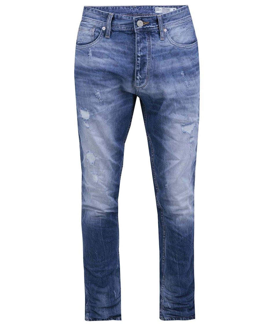 Modré džíny s vyšisovaným efektem Jack & Jones Erik