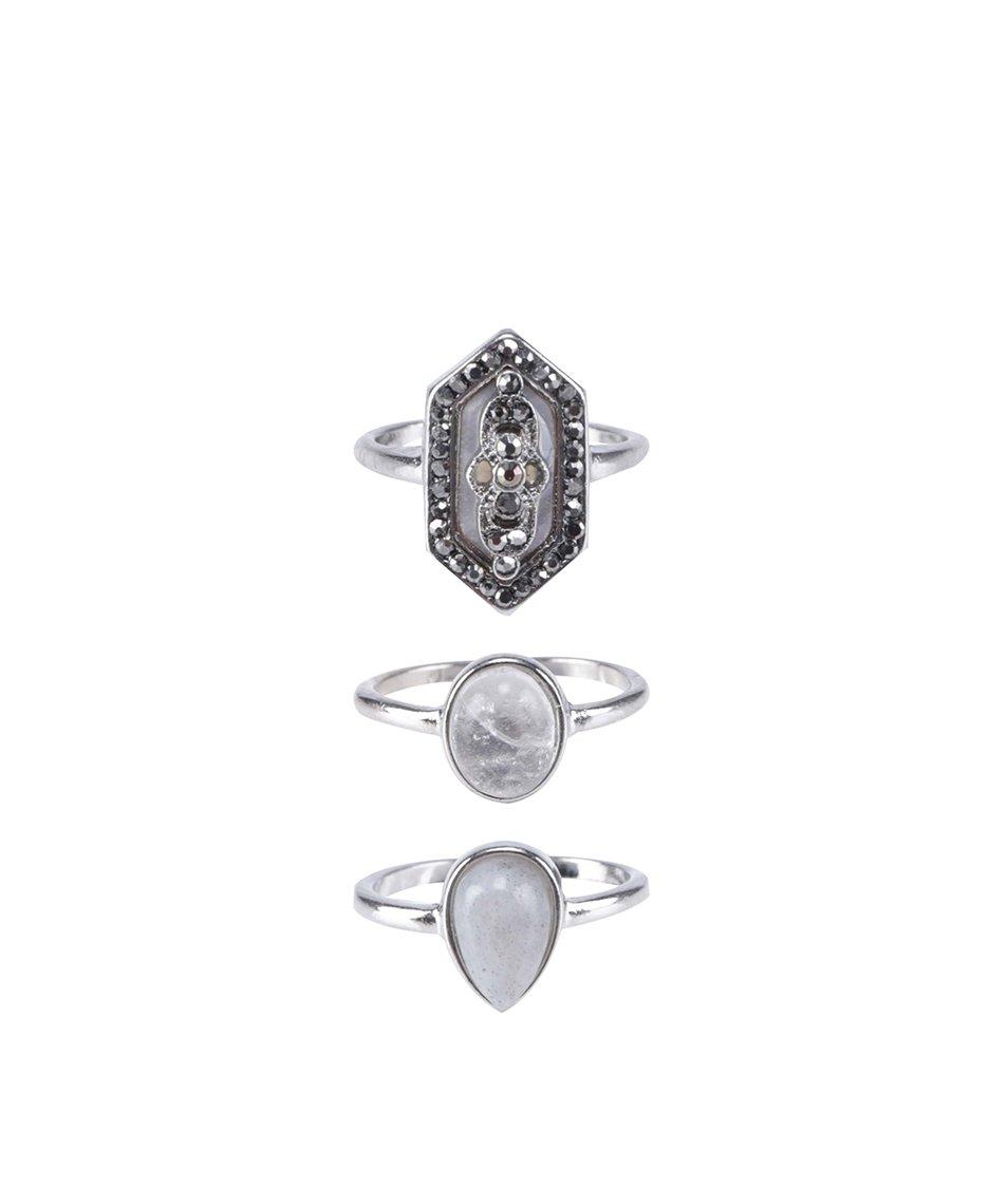 Sada tří prstýnků ve stříbrné barvě ALDO Ashwill