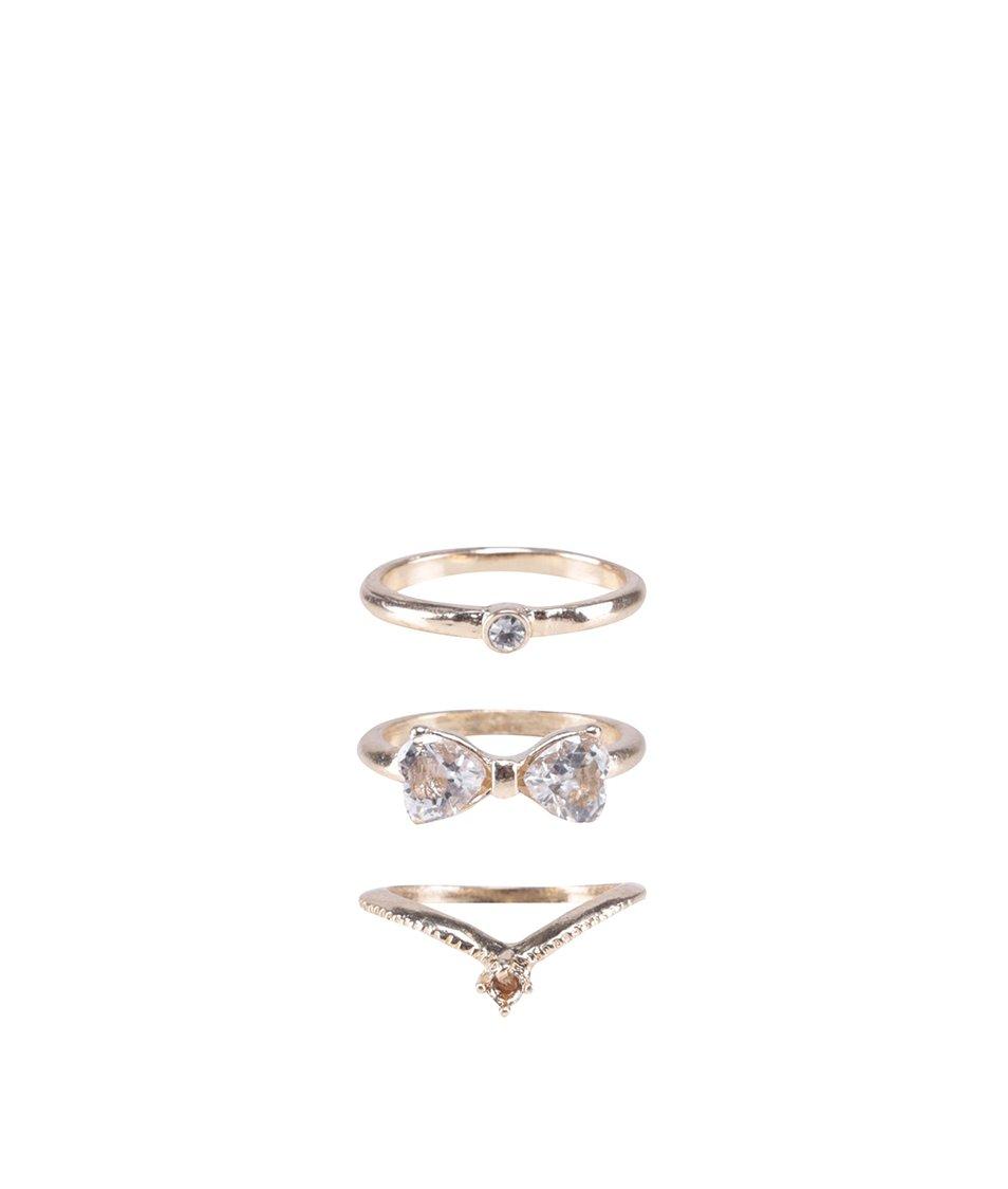 Sada tří prstýnků ve zlaté barvě s kamínky ALDO Afoissa