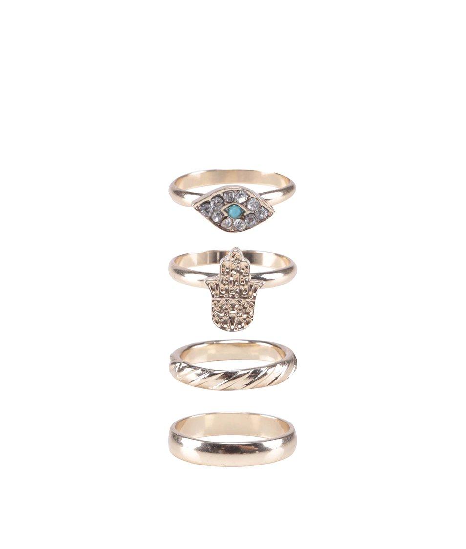 Sada čtyř prstýnků ve zlaté barvě ALDO Celaniel