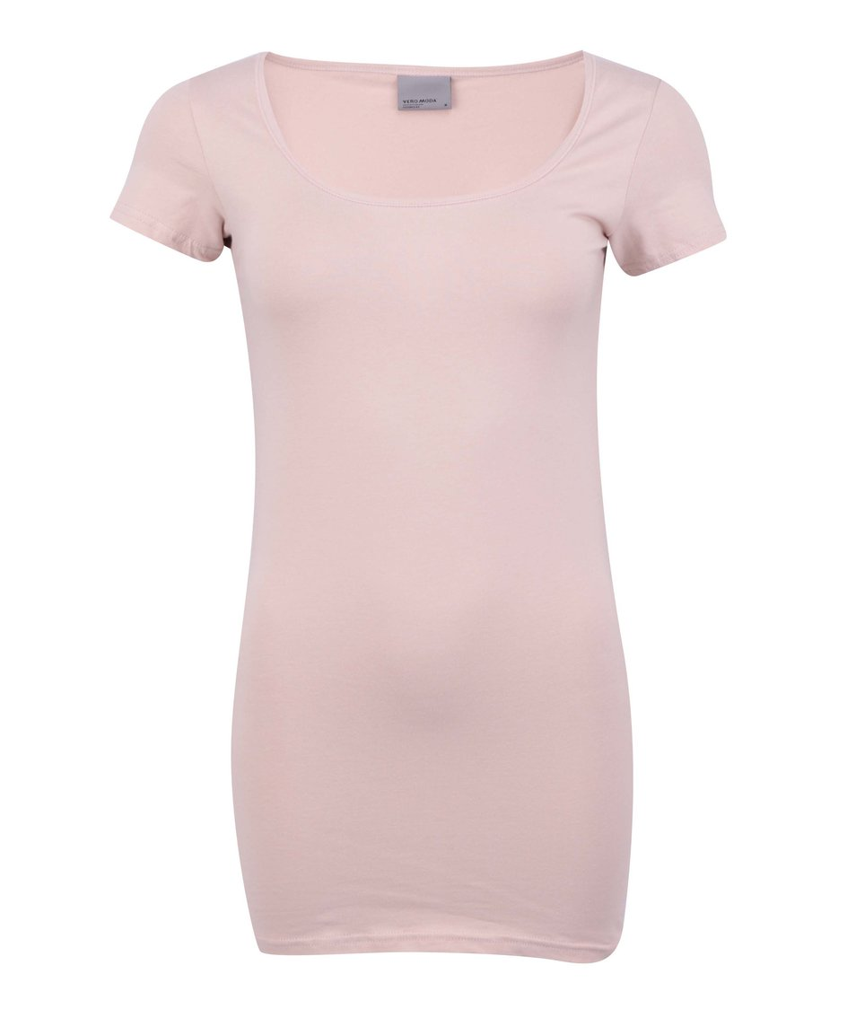 Starorůžové jednoduché tričko Vero Moda Maxi