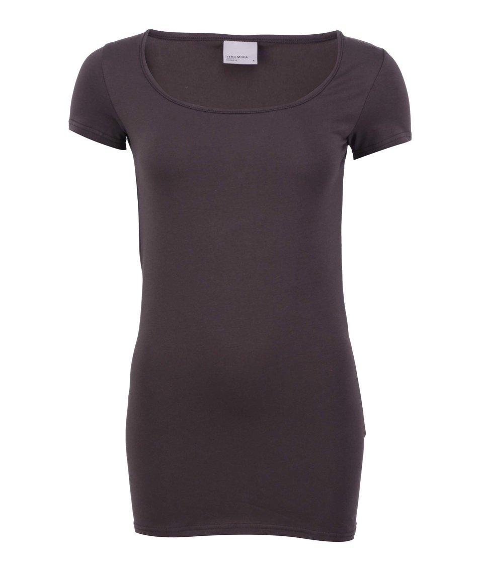 Tmavě hnědé jednoduché tričko Vero Moda Maxi