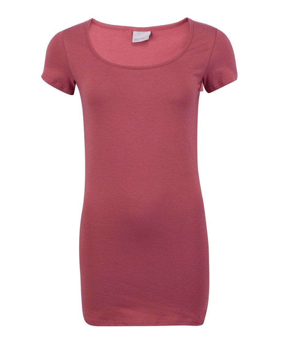 Červené jednoduché tričko Vero Moda Maxi