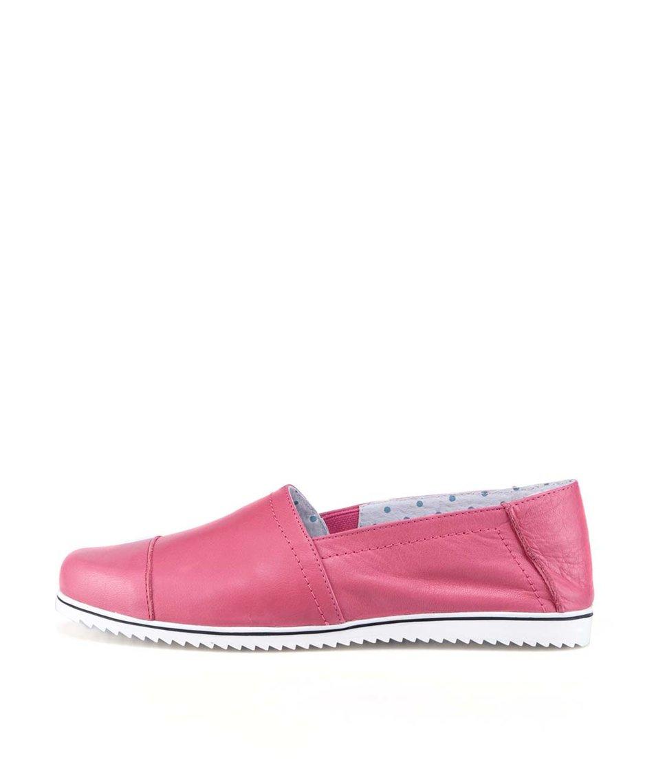 Malinově růžové kožené loafers OJJU
