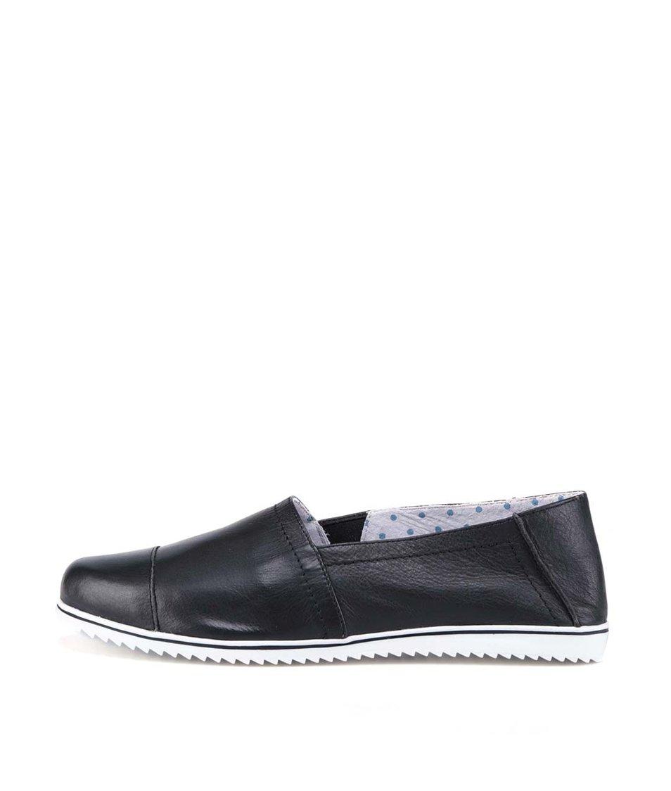 Černé kožené loafers s bílou podrážkou OJJU