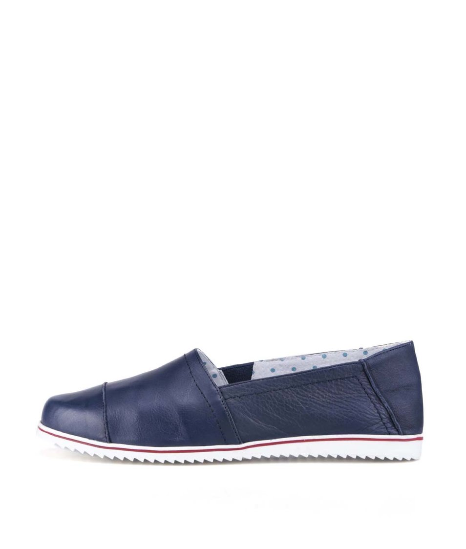 Tmavě modré kožené loafers OJJU