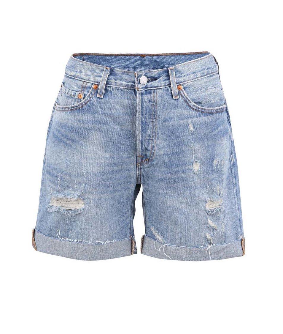 Světle modré dámské džínové kraťasy s potrhaným efektem Levi's®