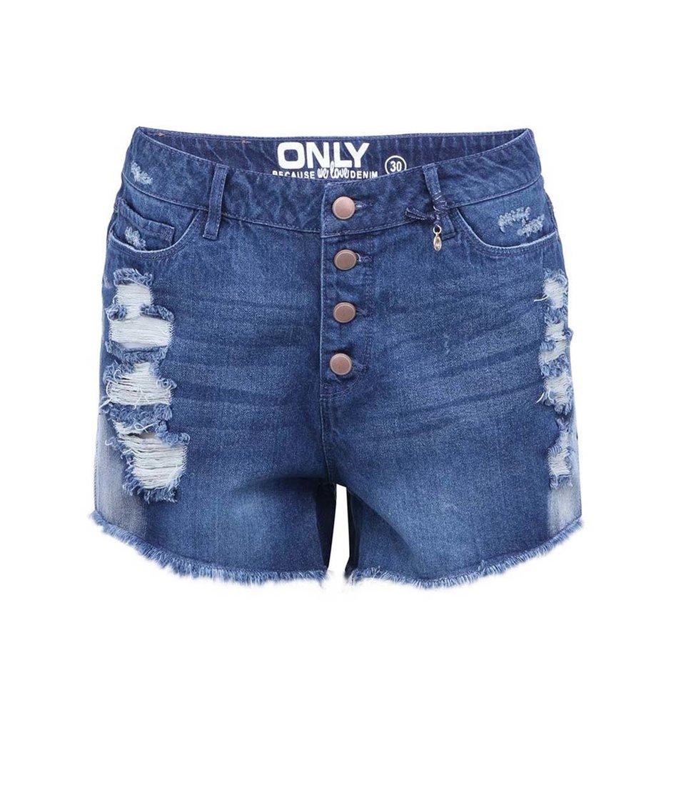 Modré potrhané džínové kraťasy s vysokým pasem ONLY Pacy