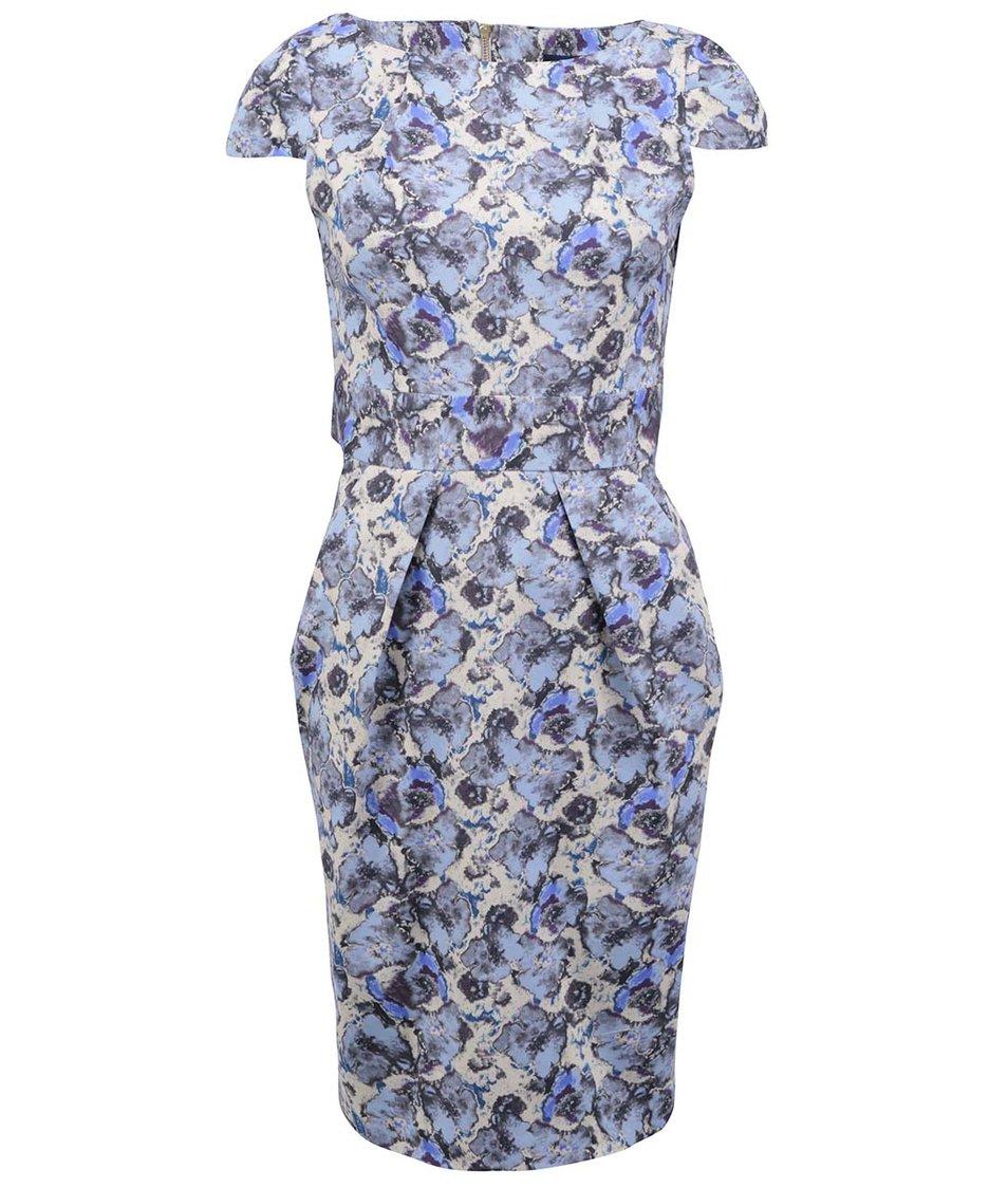 Modré pouzdrové šaty s květinovým vzorem Closet