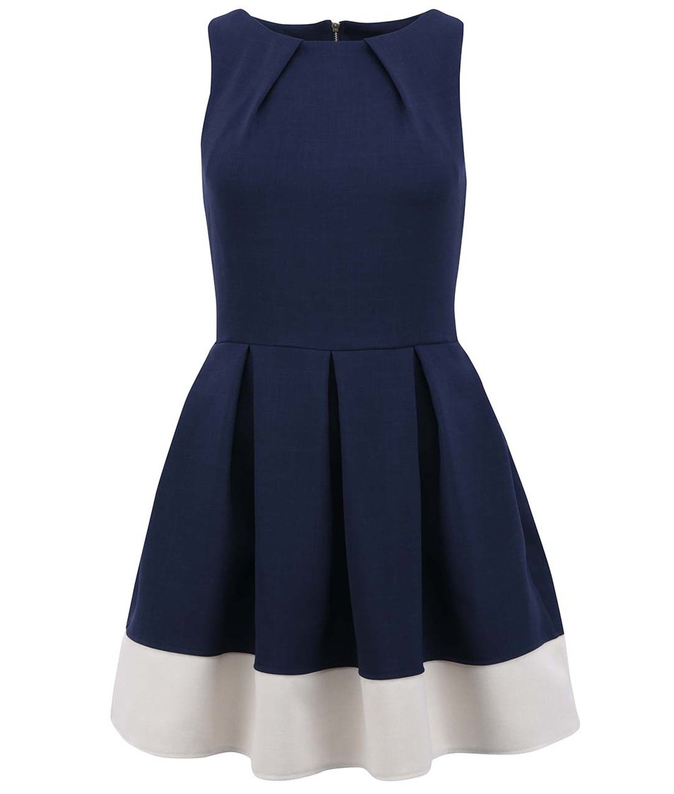 Modré šaty s krémovým pruhem Closet