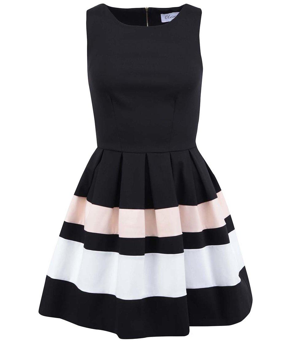Černé šaty se světlými pruhy Closet