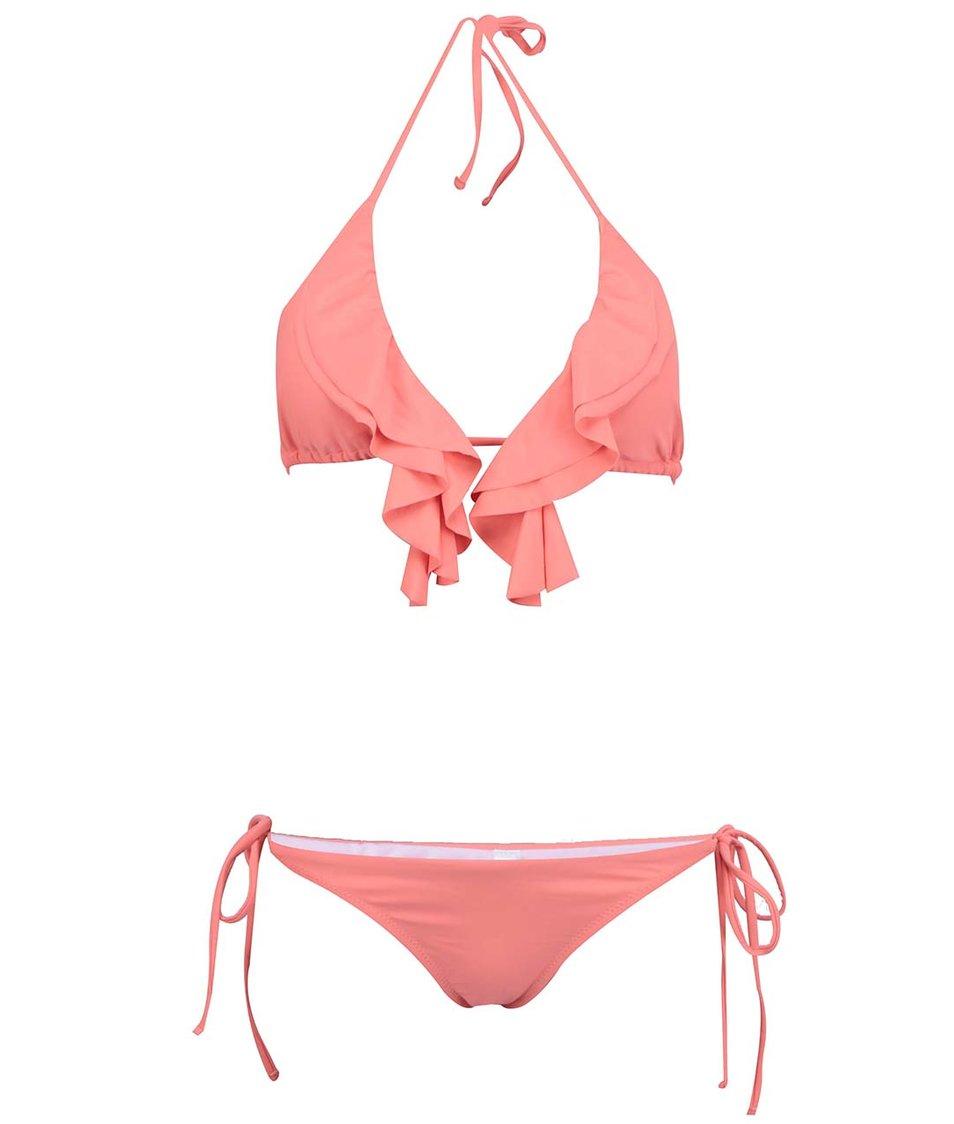 Neonově oranžové plavky s nařasením Relleciga Cherry