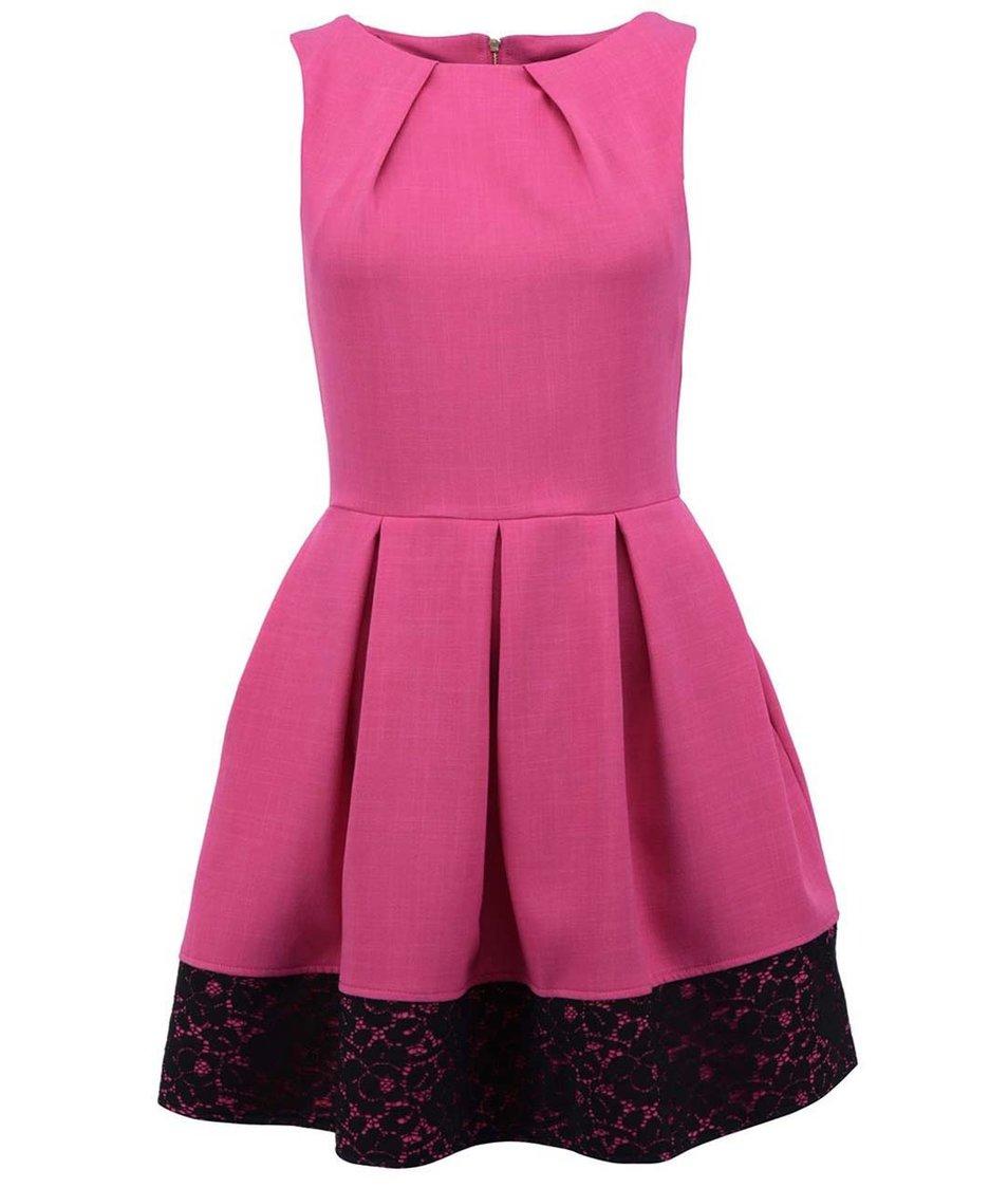 Růžové šaty s černou krajkou Closet