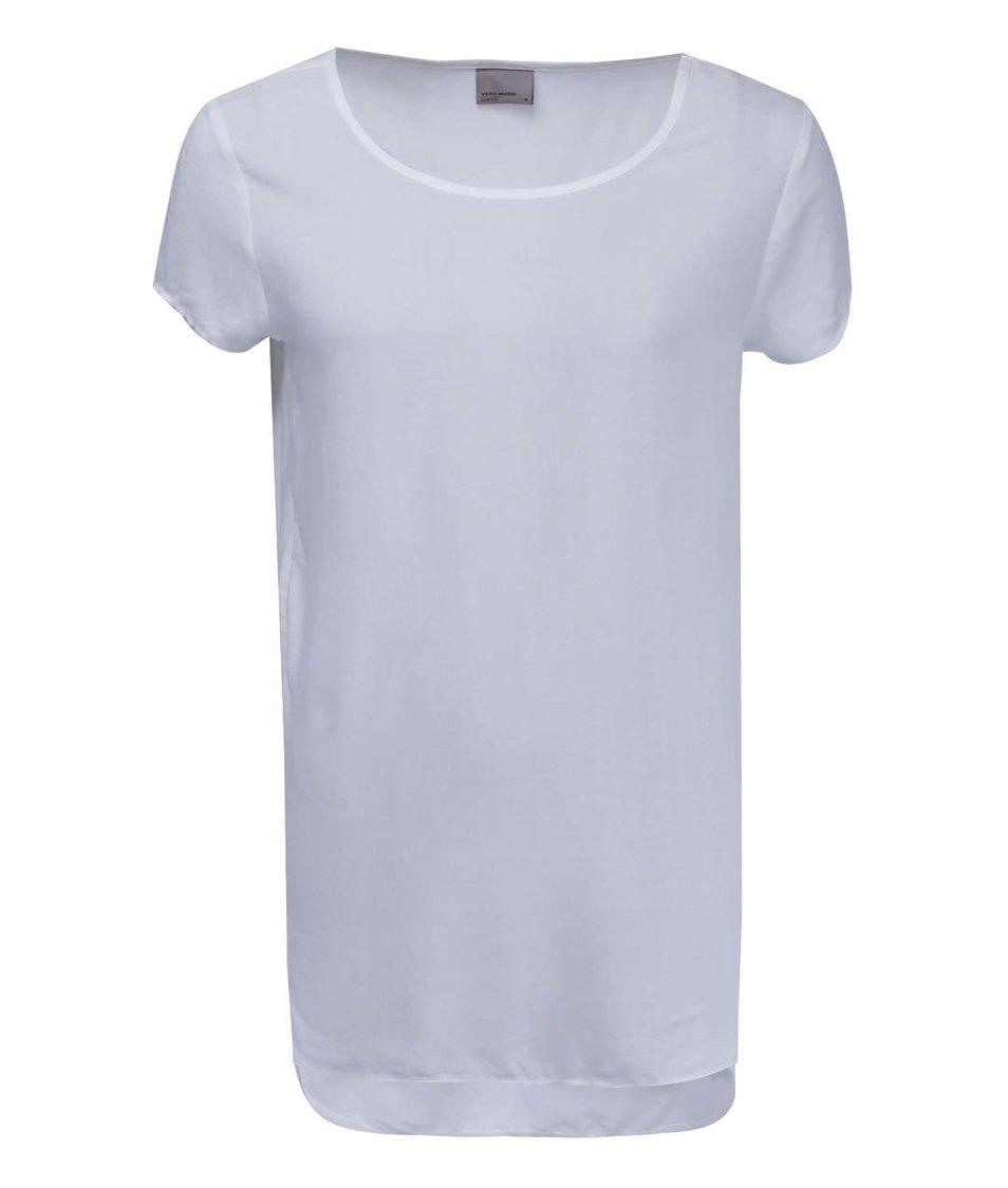 Krémové tričko s delším zádním dílem Vero Moda Boca