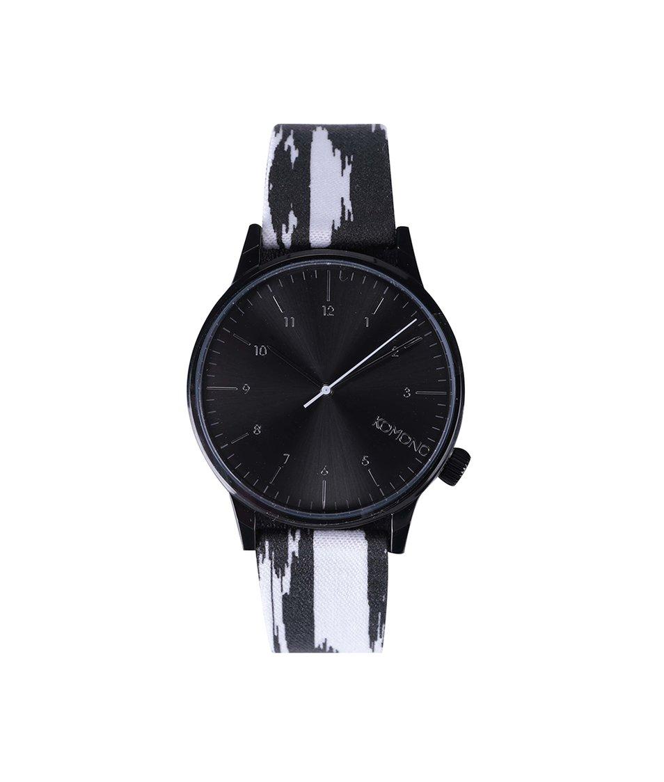 Černo-bílé unisex hodinky Komono Winston Blurred Lines