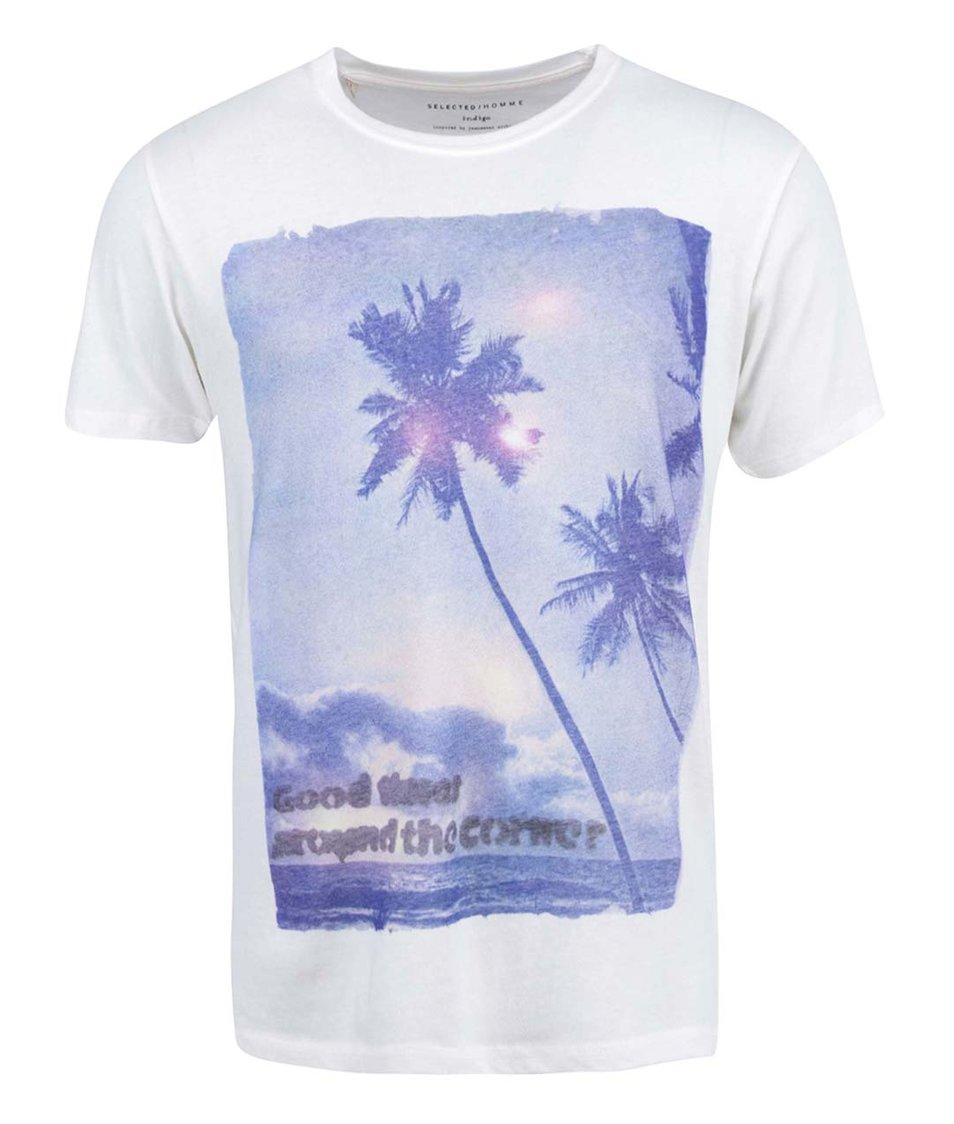 Bílé triko s potiskem Selected Good times