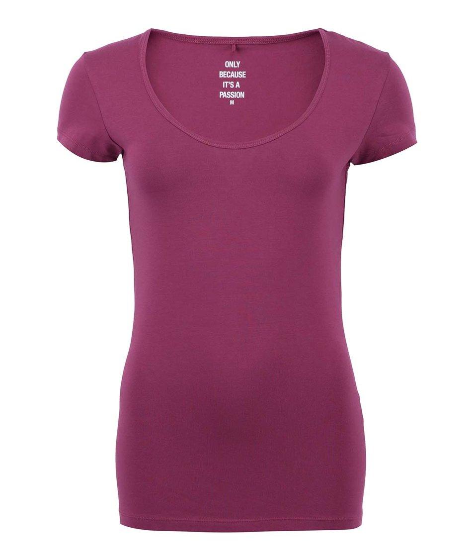 Vínové tričko s kulatým výstřihem ONLY Live Love