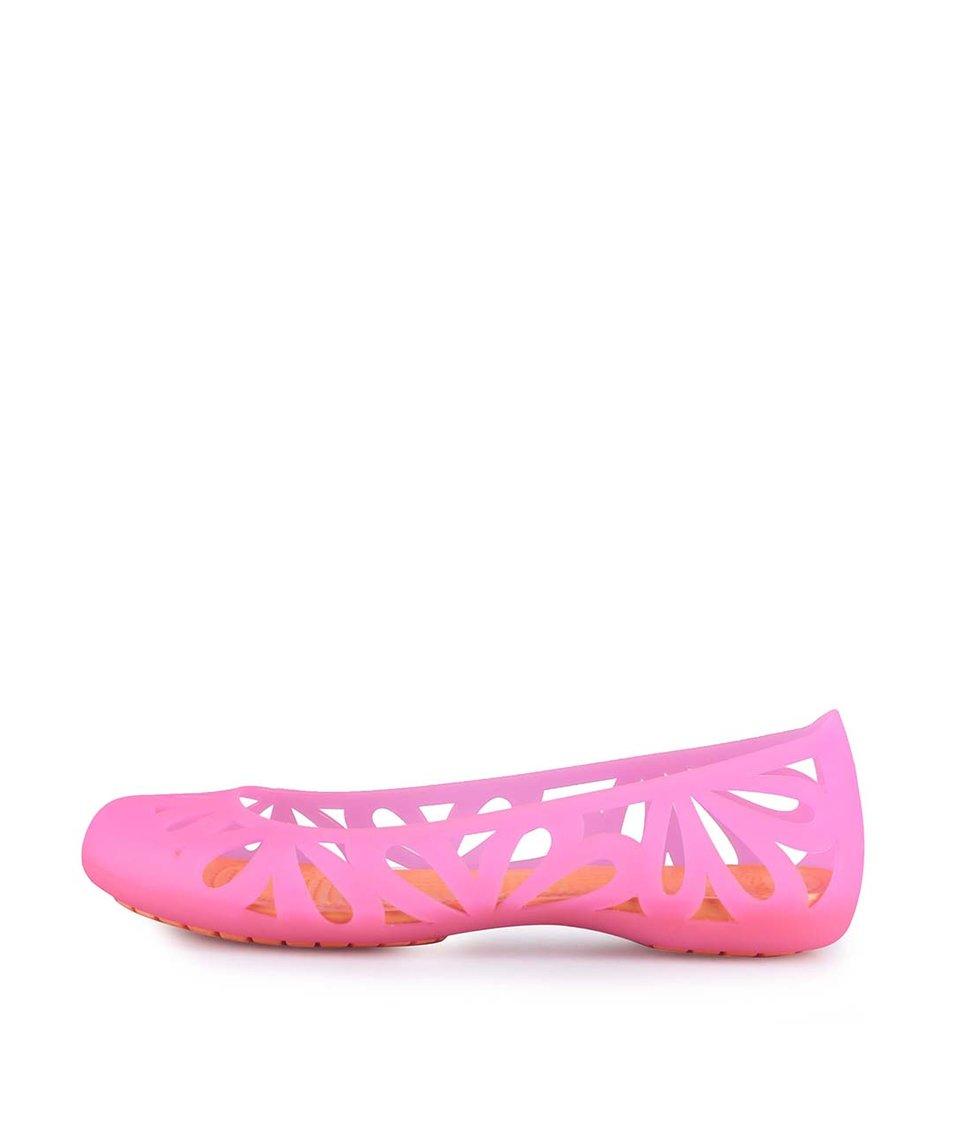 Oranžovo-růžové gumové balerínky Crocs Adrina Flat