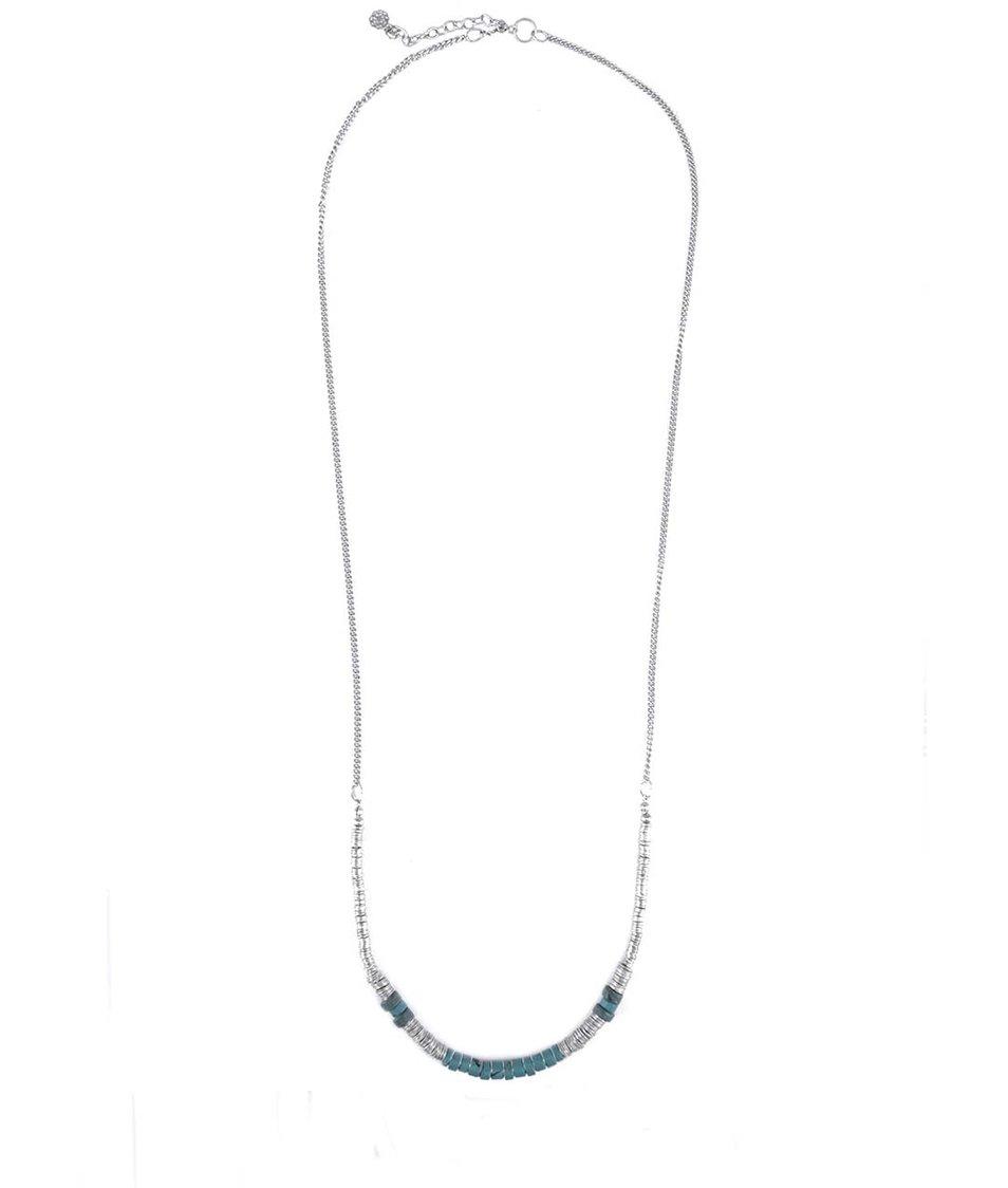 Řetízkový náhrdelník v petrolejově-stříbrné barvě Pieces Emon